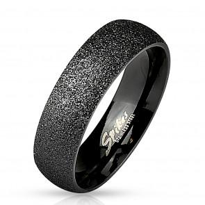 Fekete színű, homokfújt nemesacél gyűrű