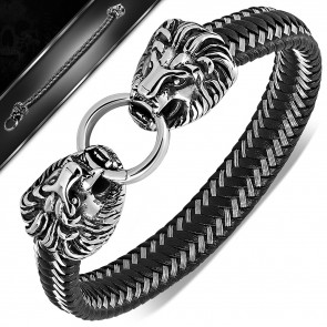 Fekete színű bőr karkötő oroszlán fejes nemesacél zárral