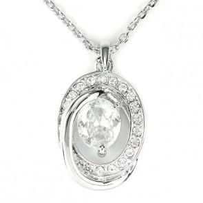 Swarovski kristályos nyaklánc modern medállal ezüst szinű