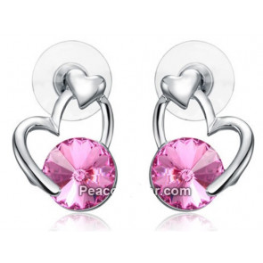 Szív alakú fülbevaló Pink szinű Swarovski kristállyal