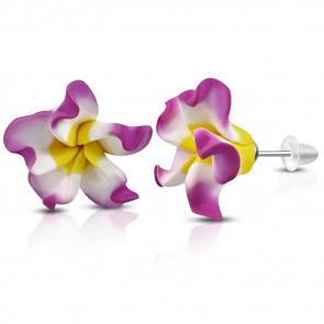 Lila-fehér-sárga pluméria virág fülbevaló