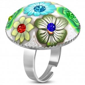 Kör alakú, fehér virág mintás állítható nemesacél gyűrű ékszer cirkónia kristállyal