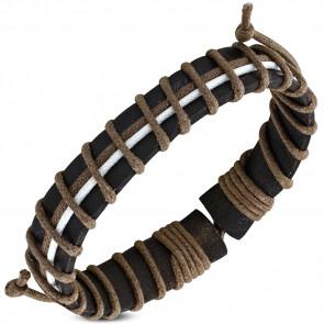 Világos- és sötétbarna bőr karkötő