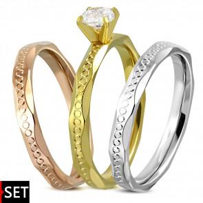 Három színű nemesacél gyűrű, cirkónia kristállyal