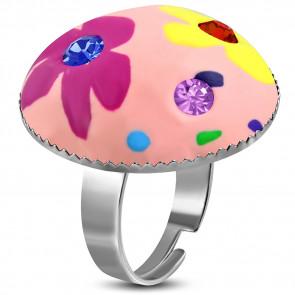 Kör alakú, rózsaszín virág mintás állítható nemesacél gyűrű ékszer cirkónia kristállyal