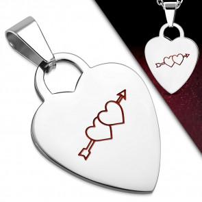Ezüst színű, szív alakú nemesacél medál, átlőtt szív mintával