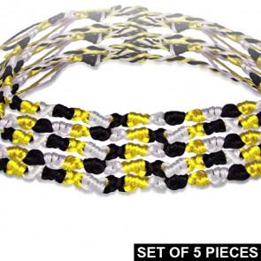 Divat karkötő fonott szálakból - fekete-fehér-sárga