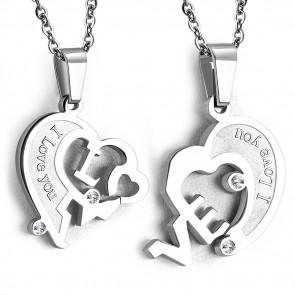 Ezüst színű nemesacél, kétrészes szív alakú medál, cirkónia kristállyal