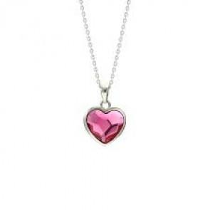 Swarovski® kristályos nemesacél nyaklánc - Heart Fuchsia