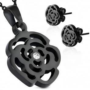Fekete színű nemesacél szett, rózsa formájú medállal és fülbevalóval, cirkónia kristállyal
