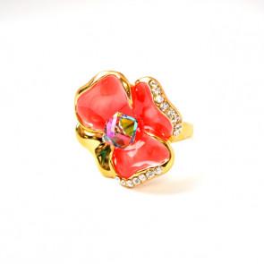 Pink árvácska Swarovski kristályos gyűrű, arany színű