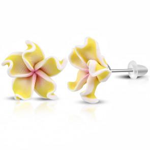 Pasztellsárga pluméria virág fülbevaló