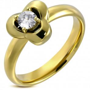 Arany színű, virág, díszes, cirkónia köves nemesacél gyűrű