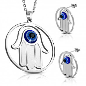 Ezüst színű nemesacél szett, kék szemű kéz formával, medál és fülbevaló