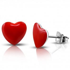 Piros színű, szív alakú nemesacél fülbevaló ékszer