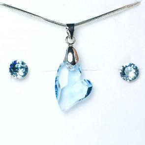 Swarovski kristályos ékszerszett - Ferde szív Kék