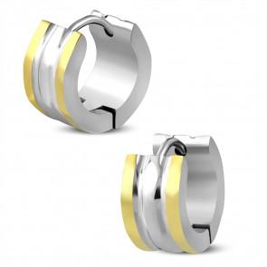 Arany és ezüst színű, bordázott nemesacél fülbevaló