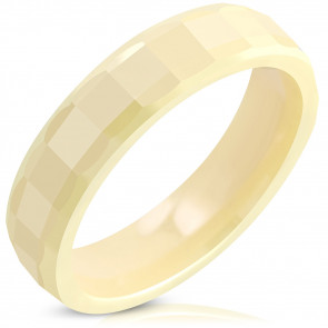 Sárga színű kerámia gyűrű, négyszögre csiszolt mintával-10.5