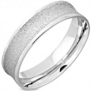 Ezüst színű, homokfúvott nemesacél gyűrű ékszer-8