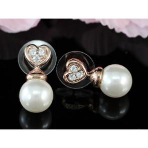 Chloe Swarovski kristályos fülbevaló - Arany színű, fehér gyönggyel