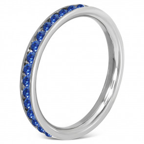 Ezüst színű nemesacél gyűrű, sötétkék cirkónia kristályokkal