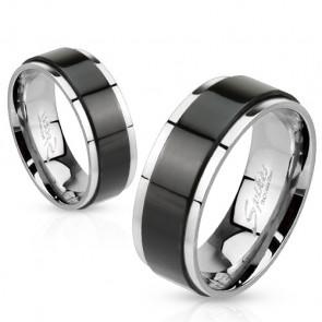 6 mm - Fekete csíkos nemesacél karikagyűrű