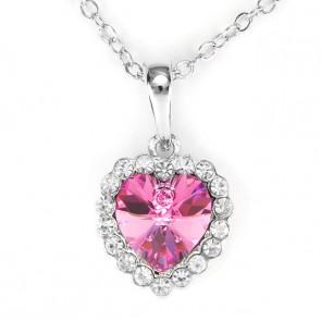 Swarovski kristályos nyaklánc pink szinű szíves medállal