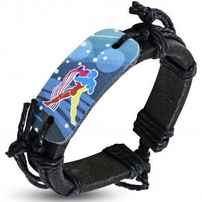 Horoszkópos bőr karkötő - Vízöntő