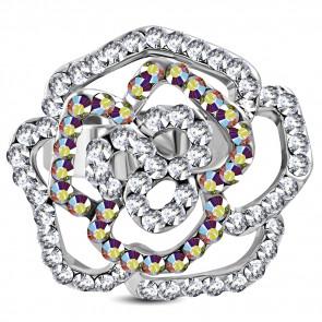 Virág formájú divat gyűrű, cirkónia kristállyal