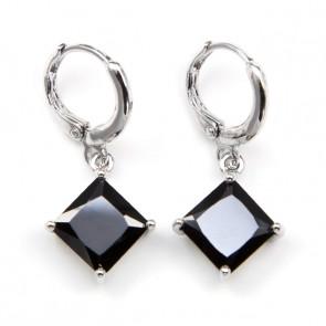 Swarovski kristályos Fekete négyzet fülbevaló
