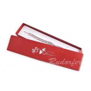 Piros színű ékszer tartó doboz, rózsa mintával