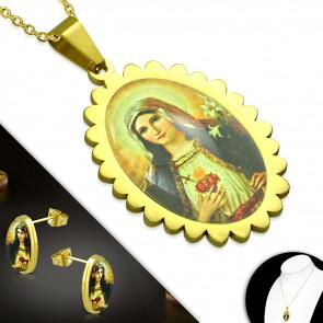 Arany színű nemesacél szett, Szűz Mária mintás medállal és fülbevalóval