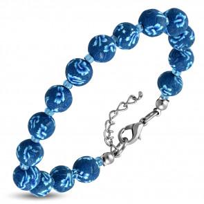 Divatos kék virág mintás gyöngyös bizsu karkötő