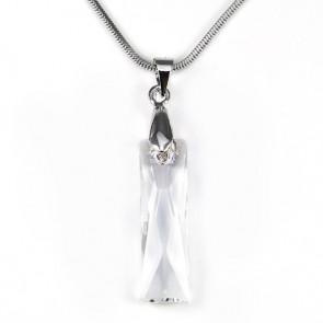 Swarovski® kristályos nemesacél nyaklánc - 25 mm - Hasáb- Crystal