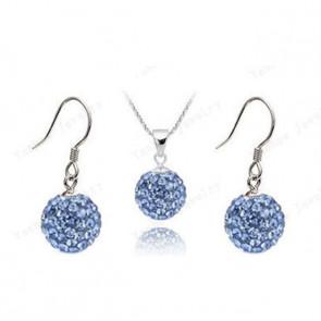 Shamballa szett (fülbevaló, lánc és medál) - világos kék