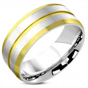 Matt, kétszínű nemesacél karikagyűrű