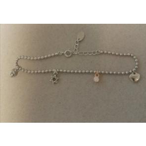 Ezüst karkötő, logó díszekkel gyémánt kristályokkal - 925 ezüst ékszer
