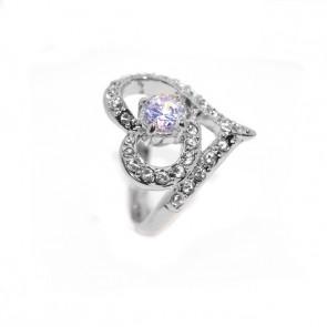 Szív alakú Swarovski kristályos  gyűrű, ezüst színű