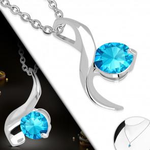 Ezüst színű nyaklánc, világoskék cirkónia kristályos medállal