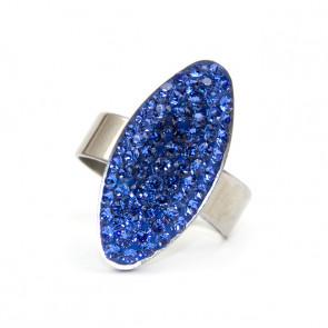 Ovális Swarovski® kristályos nemesacél gyűrű - Sapphire