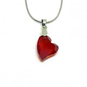 Swarovski® kristályos ezüst nyaklánc - 17 mm - Ferde szív - Red Magma - 925 ezüst ékszer