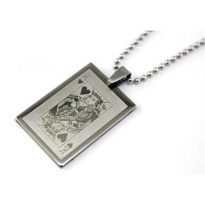 Ezüst színű, Póker kártya király medálos nyaklánc