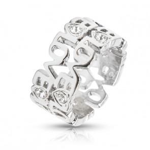 LOVE feliratos gyűrű Swarovski kristállyal