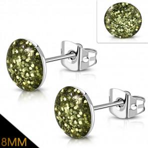 Arany zöld színű, kristály mintás nemesacél fülbevaló