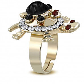 Teknős formájú divat gyűrű, cirkónia kristállyal