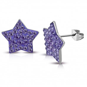 Ezüst színű, csillag alakú nemesacél fülbevaló, lila színű cirkónia kristályokkal