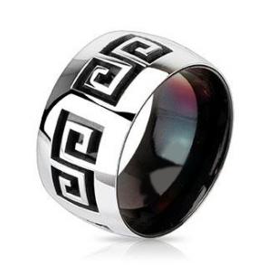Széles, egyedi mintázatú, fekete és ezüst színű nemesacél gyűrű ékszer