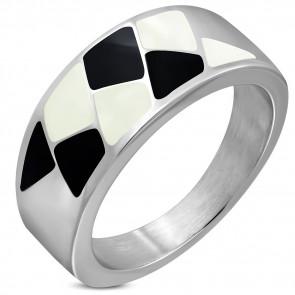 Ezüst színű nemesacél gyűrű, fekete és fehér mintával