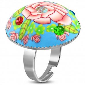 Kör alakú, kék - virág mintás állítható nemesacél gyűrű ékszer cirkónia kristállyal