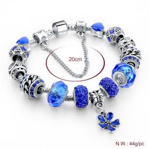 Pandora stílusú virág kristályos karkötő